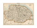 Map of Norfolk  England  1870s