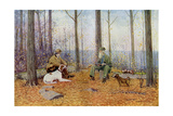 Young and Old Sportsmen with Their Bird Dogs in the Fall Woods  Circa 1900