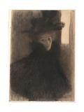 Portrait of a Lady With Cape And Hat Giclée par Gustav Klimt
