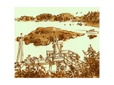 Bay  Southport  Maine  1975  ink drawing