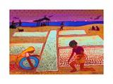 Drying Fish on the Beach  Sri Lanka  2013  watercolour painting