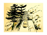 The Merritt Parkway  Connecticut  2012  ink drawing