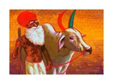 Farmer with Ox  India  2013  watercolour painting