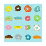16 Donuts on Aqua