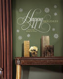 Happy Holidays Quote Peel and Stick Giant Wall Decals w/Glitter