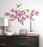 Pink Flowering Vine Peel and Stick Wall Decals
