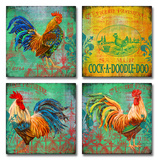 Parisian Rooster Set of Four