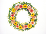 Colorful Wreath Against White Background `