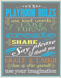 Gray Playroom Rules Plaque Oversized