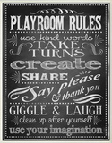 Black Playroom Rules Plaque Oversized