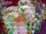 Oriental Chrysanthemum Fabric Out of Focus