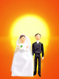 Digitally Generated Newlywed Couple with Sunset Background