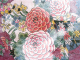Close Up of Oriental Chrysanthemum Pattered Fabric on Dark Blue Background
