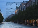 Gedimino Prospektas Street at Evening  Vilnius  Lithuania