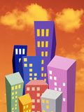 Multi Colored Abstract High Rise Buildings with Bright Orange Sky And Clouds