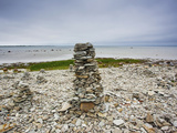 Cairns on Rocky Beach  Ohessaare  Sorve Peninsula  Saaremaa Island  Estonia
