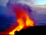 Lava From Volcano Falling Into Sea  Big Island  Hawaii
