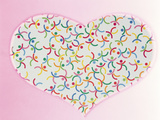 Heart Filled with Multicolored Dancing Stick Figures on Pink Background