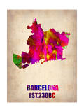 Barcelona Watercolor Map