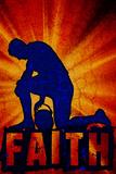 Faith Football Player Sports Plastic Sign