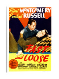 FAST AND LOOSE  from left: Robert Montgomery  Rosalind Russell on midget window card  1939