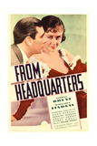 FROM HEADQUARTERS  from left: George Brent  Margaret Lindsay on midget window card  1933