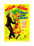 SHALL WE DANCE  from left: Fred Astaire  Ginger Rogers on midget window card  1937