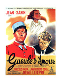 GUEULE D'AMOUR  French poster art  from left: Jean Gabin  Mireille Balin  Jean Gabin  1937