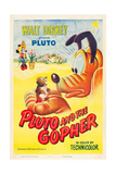 PLUTO AND THE GOPHER  rear: Minnie Mouse  foreground  Pluto on poster art  1950