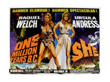 ONE MILLION YEARS BC  1966  SHE  1965  from left: Raquel Welch  Ursula Andress  US lobbycard