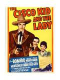 THE CISCO KID AND THE LADY  from left: Cesar Romero  Marjorie Weaver on midget window card  1939