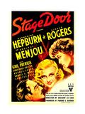 STAGE DOOR  from left: Adolphe Menjou  Ginger Rogers  Katharine Hepburn on midget window card  1937
