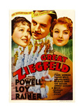 THE GREAT ZIEGFELD  from left: Luise Rainer  William Powell  Myrna Loy on midget window card  1936