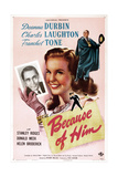 BECAUSE OF HIM  US poster  from left: Franchot Tone  Deanna Durbin  Charles Laughton  1946