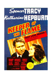 KEEPER OF THE FLAME  from left: Spencer Tracy  Katharine Hepburn on midget window card  1942