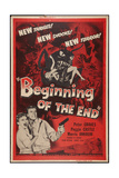 BEGINNING OF THE END  l-r: Peggie Castle  Peter Graves on poster art  1957
