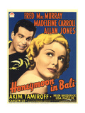 HONEYMOON IN BALI  from left: Fred MacMurray  Madeleine Carroll on midget window card  1939