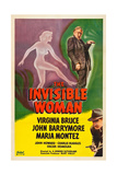 THE INVISIBLE WOMAN  top: John Barrymore  bottom: John Howard on poster art  1940