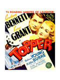 TOPPER  from left: Cary Grant  Constance Bennett on window card  1937