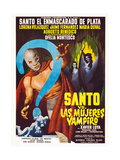 SANTO VS LAS MUJERES VAMPIRO  left: Santo on Spanish poster art  1962
