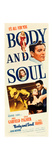 BODY AND SOUL  from top: John Garfield  Lilli Palmer on insert poster  1947