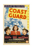 COAST GUARD  from left: Randolph Scott  Frances Dee  Ralph Bellamy on midget window card  1939