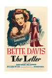 THE LETTER  Bette Davis on midget window card (artwork also used on 1-sheet poster)  1940