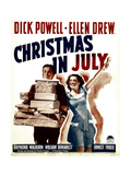 CHRISTMAS IN JULY  from left: Dick Powell  Ellen Drew on window card  1940