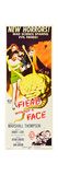 FIEND WITHOUT A FACE  Kim Parker (in towel)  far right: Marshall Thompson on insert poster  1958