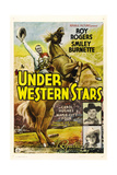 UNDER WESTERN STARS  left: Roy Rogers  right from top: Smiley Burnette  Carol Hughes  1938