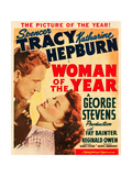 WOMAN OF THE YEAR  l-r: Spencer Tracy  Katharine Hepburn on window card  1942