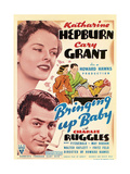BRINGING UP BABY  left from top: Katharine Hepburn  Cary Grant on midget window card  1938