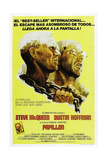 PAPILLON  Spanish language poster  from left: Steve McQueen  Dustin Hoffman  1973