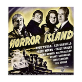 HORROR ISLAND  from left: Leo Carrillo  Fuzzy Knight  Peggy Moran  Dick Foran on window card  1941